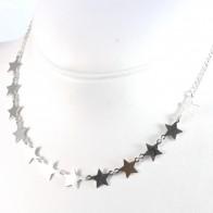 Collana argento bianco e 11 stelle - 40 cm + 5 cm; 4,7 gr