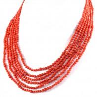 Collana a 6 fili di corallo rosso e argento - 69 gr; 42 cm il filo interno più corto