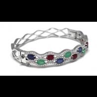 Bracciale rigido argento con smeraldi, zaffiri, rubini e zirconi