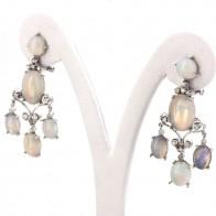 Orecchini pendenti chandelier in stile, oro, opali - 9.5 ct- e diamanti - 0.45 ct- 4.5 cm; 10.6 gr