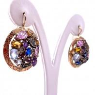 Orecchini pendenti toppe maxi in stile, multicolor, argento, oro e gemme di colore; 21.85 gr - 3.8 cm
