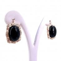 Orecchini pendenti in stile, argento, oro, onice e mini diamantini; 12.37 gr - 2.9 cm