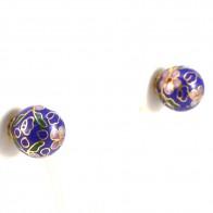Orecchini al lobo boulle cristalli colorati di Murano e oro; 5.4 gr