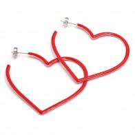 Orecchini anelle a cuore argento a smalto rosso - 4.2 cm; 3.09 gr