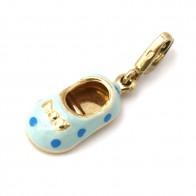 Ciondolo charm scarpetta baby in oro e smalti - 1.9 gr