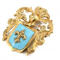 Spilla/Ciondolo antico stemma araldico, con smalto turchese, in oro -10.8 gr; 4 cm.