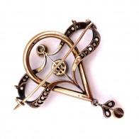 Spilla autentica liberty, antica, oro, perle e diamanti - 9 gr; 5.1 cm