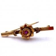 Spilla autentica, antica, oro, rubino di sintesi e mini diamanti - 3.03 gr; 4.5 cm