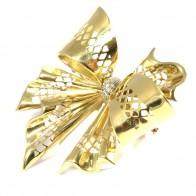 Spilla maxi fiocco oro e diamanti - 0,20-0,25 ct; 23,95 gr