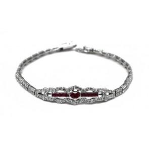 Bracciale argento e zirconi con inserto centrale pietre di sintesi rosse