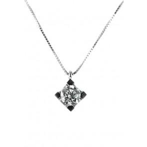 Ciondolo punto luce oro e diamante solitario - 0,52 ct