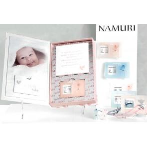 Diamante certificato, su ciondolo plexyglass, con calco argilla per bebè. Angelo azzurro.