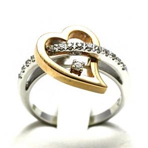 Anello cuore, oro e diamanti