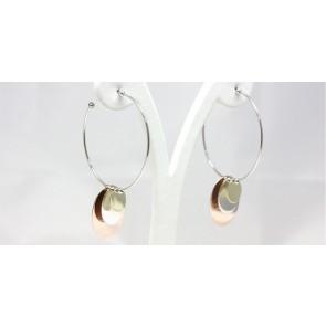 Orecchini ad anelle argento con 3 lastre tricolori