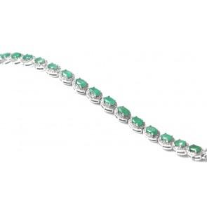 Bracciale tennis margherite argento, smeraldi e zirconi