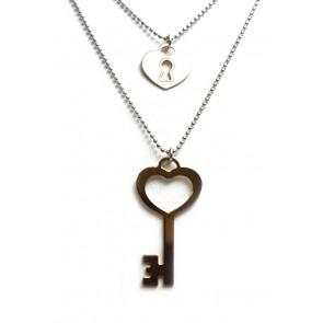 Collana doppia, cuore, chiave, in argento bicolore
