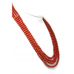 Collana 4 fili corallo rosso e oro