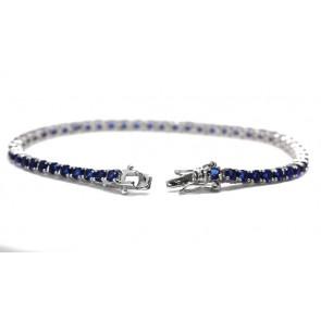 Bracciale tennis argento e zirconi blu