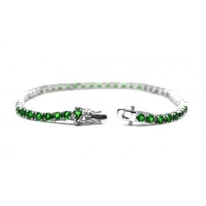 Bracciale tennis argento e zirconi verdi