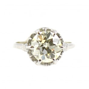Anello solitario, in stile, oro e diamante - 2,81 ct