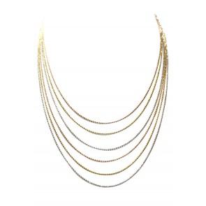Collana multifilo in argento tricolore