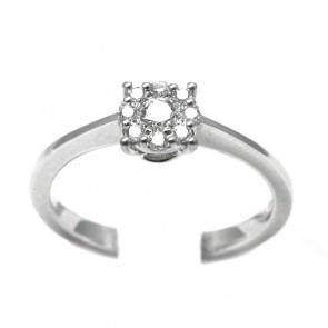 Anello margherita circolare oro e diamanti (0,22 ct)