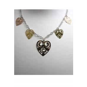 Collana argento e charms cuore