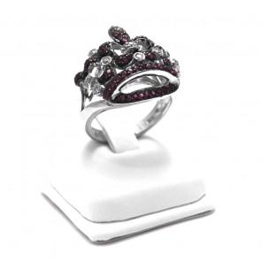 Anello corona argento, rubini e zirconi