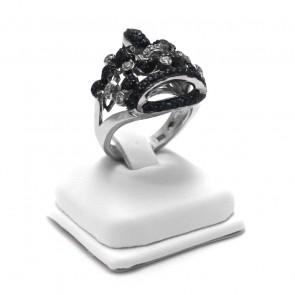 Anello corona argento, zaffiri e zirconi