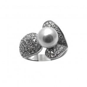 Anello argento zirconi e perla