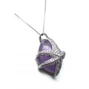Ciondolo argento, ametista e stella zirconi