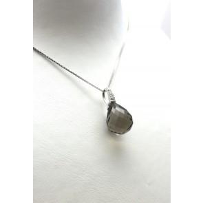 Ciondolo argento, goccia sfaccettata di pietra dura -quarzo fumè- e zirconi
