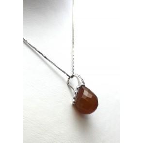 Ciondolo argento, goccia sfaccettata di pietra dura -corniola- e zirconi