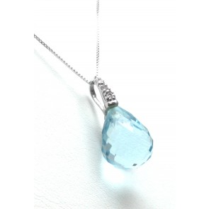Ciondolo argento, goccia sfaccettata di pietra dura -quarzo azzurro sintetico- e zirconi