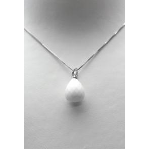 Ciondolo argento, goccia sfaccettata di pietra dura -agata bianca- e zirconi