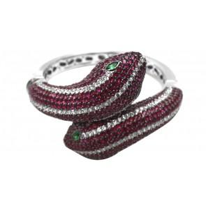 bracciale rigido serpenti in argento e zirconi