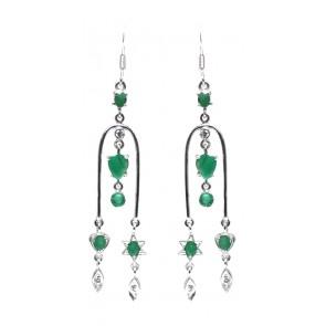 Orecchini argento e radici di smeraldo