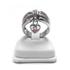 Anello argento zirconi con charm cuore