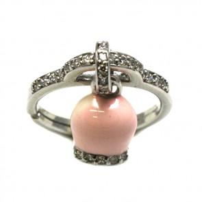 Anello argento zirconi con charm campanellina smaltata