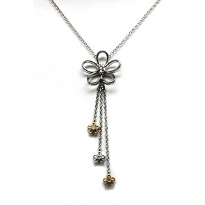 Ciondolo fiori oro bicolore e diamanti