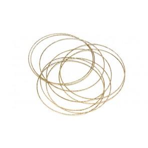 Bracciale bangles, 9 cerchi, argento rosa