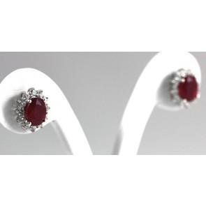 Orecchini a margherita oro, rubino -6,37 ct - e diamanti - 0,90 ct