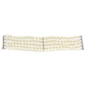 Bracciale a 5 fili di perle coltivate e oro