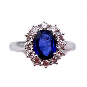Anello margherita oro, zaffiro - 1.32 ct - e diamanti