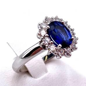Anello margherita oro, zaffiro - 1.32 ct - e diamanti - 0.58 ct ; 5.4 gr