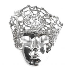 Anello Lace, maschera veneziana e pizzo d'argento;