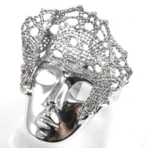 Anello Lace, maschera veneziana e pizzo d'argento; 13,75 gr