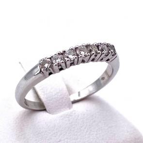 Anello riviera oro e 7 diamanti -0.30-0.35 ct; 3.02 gr