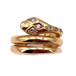 Anello maxi serpente, in stile, oro e diamanti
