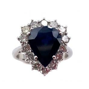 Anello oro, goccia zaffiro e diamanti